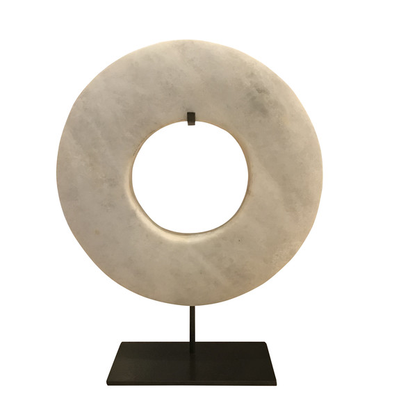 Contemporary Chinese White Stone Ring on Stand