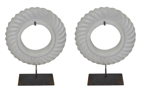 Contemporary Chinese Pair White Stone Rope Twist Discs