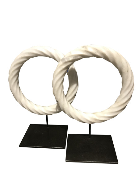 Contemporary Chinese Pair White Twisted Marble Rings on Stands