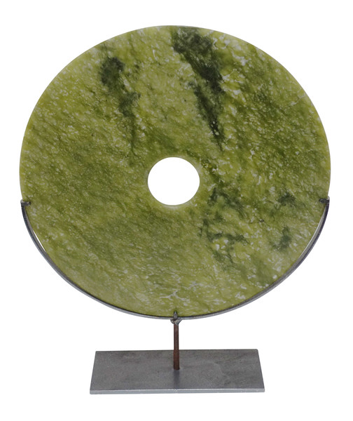 Contemporary Chinese Round Lime Green Stone Disc