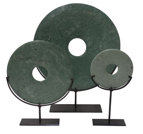 Contemporary Chinese Set of Three Jade Discs