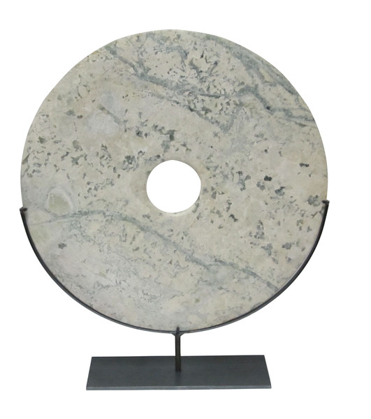Contemporary Chinese Mottled Grey Stone Disc on Stand