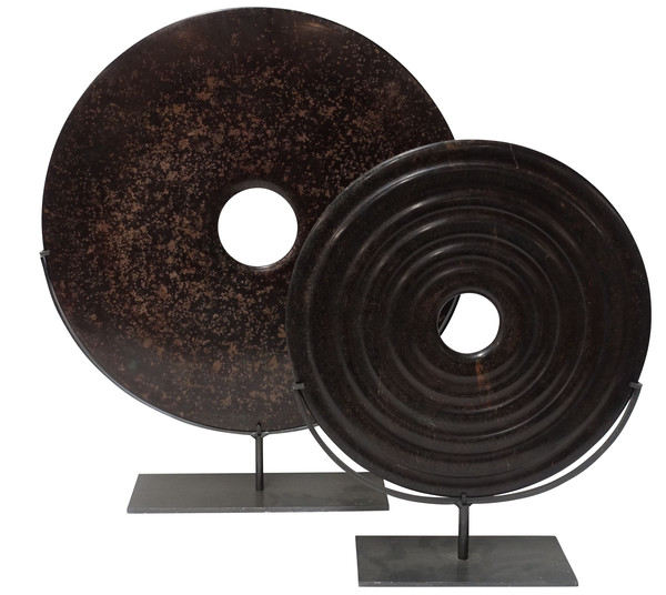 Contemporary Chinese Set of Two  Brown Stone Discs