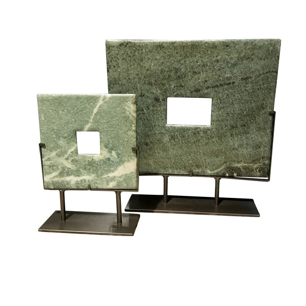 Contemporary Chinese Set of Two Square Jade Discs