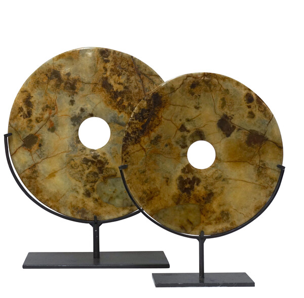Contemporary Chinese Set of Two Stone Discs