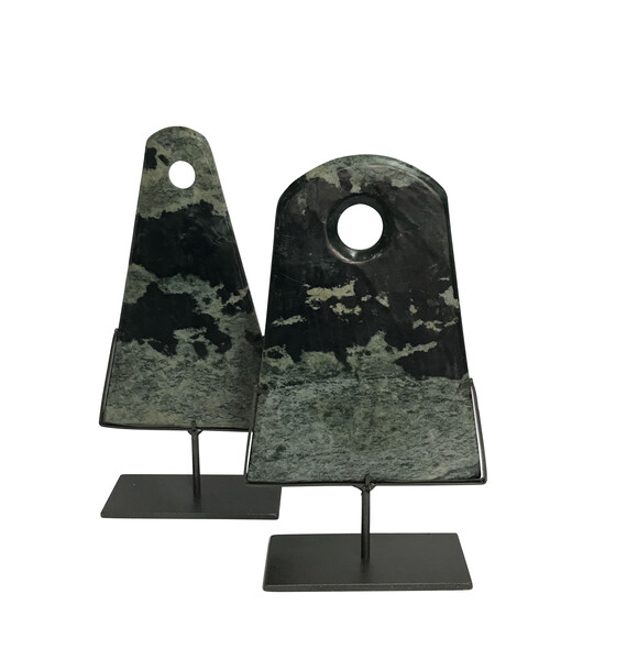 Contemporary Chinese Set of Two Triangle Shaped Stone Discs