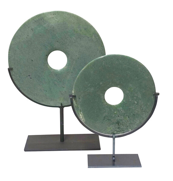 Contemporary Chinese Set of Two Washed Turquoise Stone Discs