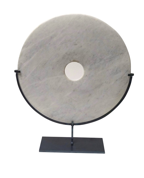 Contemporary Chinese Smooth White/Grey Marble Disc