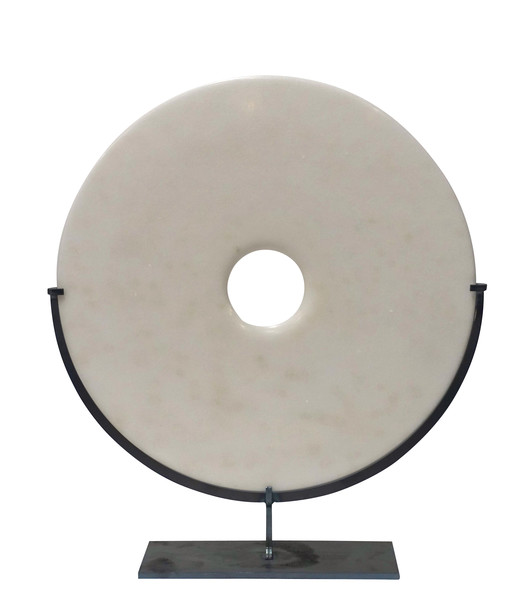 Contemporary Chinese Smooth White Marble Disc