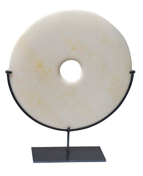 Contemporary Chinese Smooth White Stone Disc