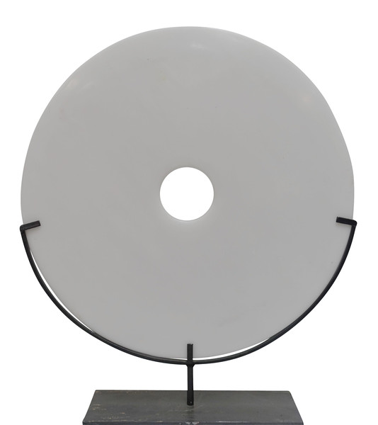Contemporary Chinese Large Smooth White Stone Disc