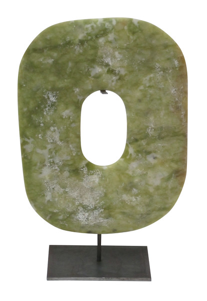 Contemporary Chinese Stone Disc on Stand