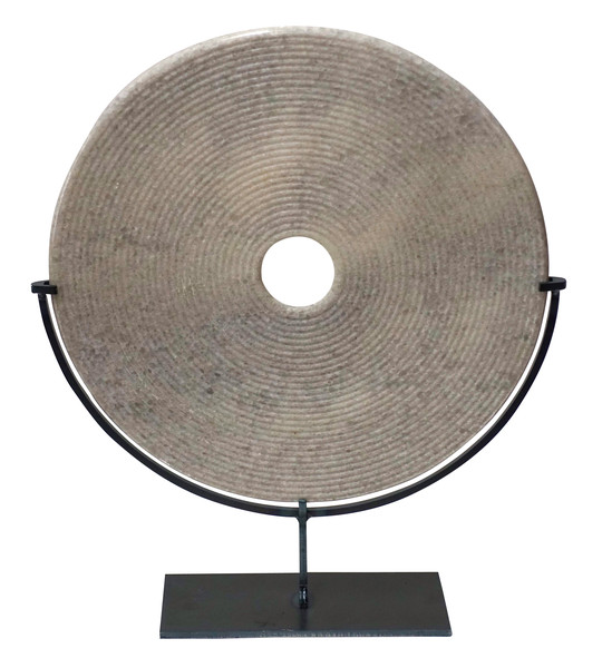 Contemporary Chinese Textured White/Grey Marble Disc