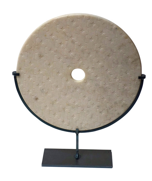 Contemporary Chinese Textured White Marble Disc