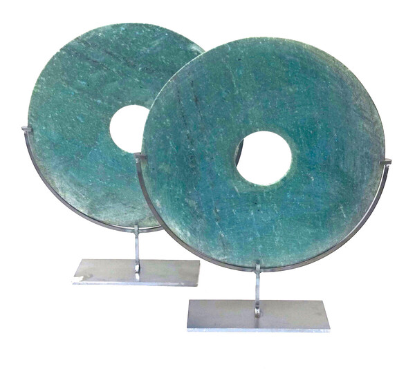 Contemporary Chinese Turquoise Smooth Stone Disc