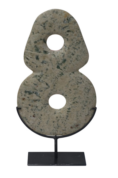Contemporary Chinese Two Vertical Circle Jadeite