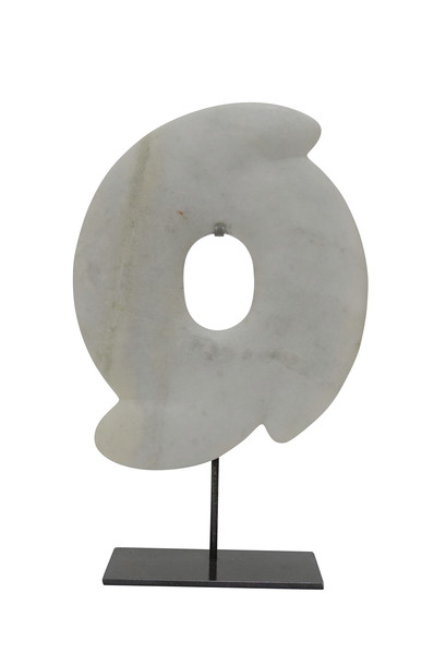 Contemporary Chinese White Stone Decorative Disc