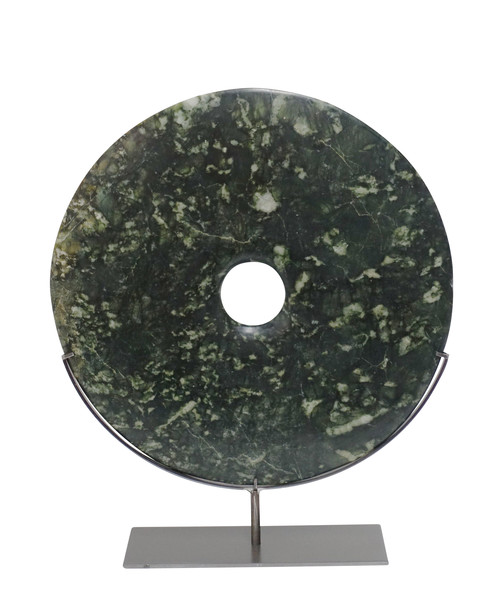 Contemporary Chinese Large Dark Green Jade Disc