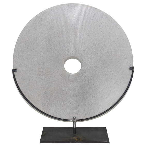 Contemporary Chinese XL Ribbed White Stone Disc