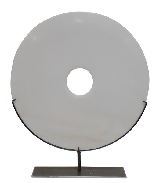 Contemporary Chinese XL Pure White Stone Disc