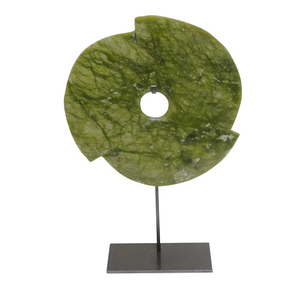 Contemporary Chinese Lime Green Pinwheel Stone Disc