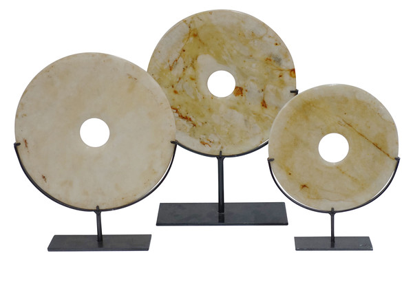 Contemporary Chinese Set of Three Cream  and Gold Stone Discs