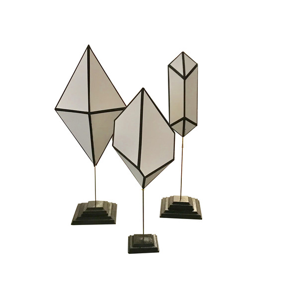 Contemporary French Set of Three Paper Molecules on Stands