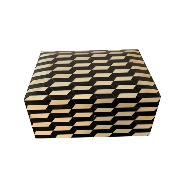 Contemporary Indonesian Black and White Bone Box