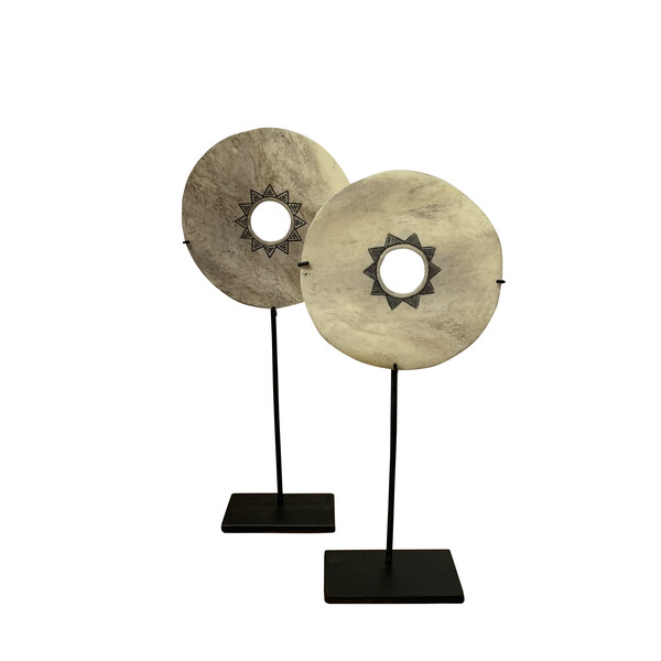 Contemporary Indonesian Decorative Bone Disc on Stand
