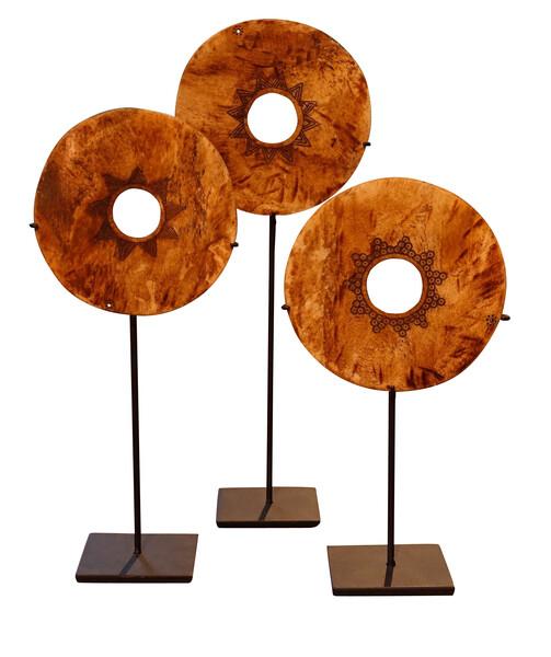Indonesian Set of Three Engraved Bone Discs