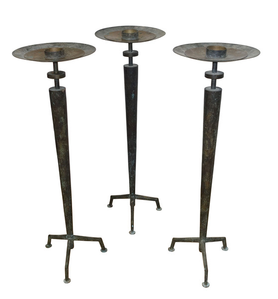 1950's French Bronze Set of Three Candlesticks