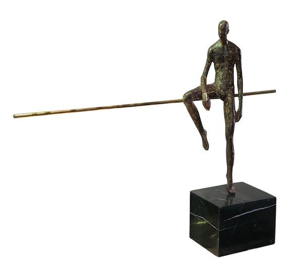 Contemporary German Bronze Sculpture Half Seated Man