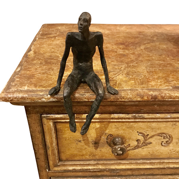 Contemporary German Bronze Seated Man Sculpture