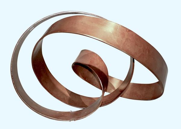 Contemporary Indonesian Brown Metal Ribbon Sculpture