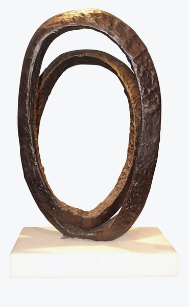 Contemporary Indonesian Double Ring Iron Sculpture