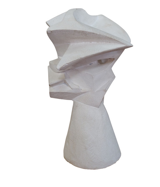 Mid Century French White Plaster Abstract Sculpture