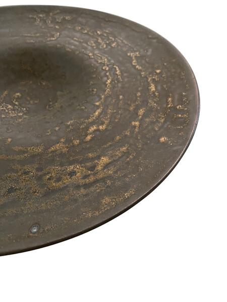 Contemporary American Ceramicist Sandi Fellman Hammered Bronze  Stoneware Platter