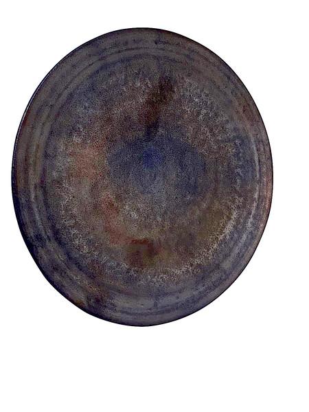 Contemporary American Ceramicist Sandi Fellman Small Bronze  Stoneware Plate