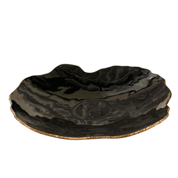 Contemporary Brazilian Large Black Glass Platter