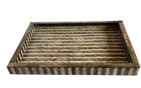 Contemporary Indian Large Carved & Etched Bone & Horn Tray