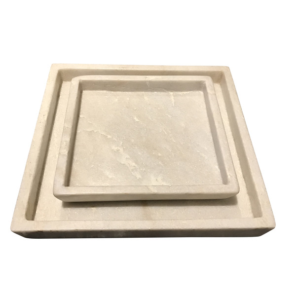 Contemporary Indian Set Of Square Marble Trays