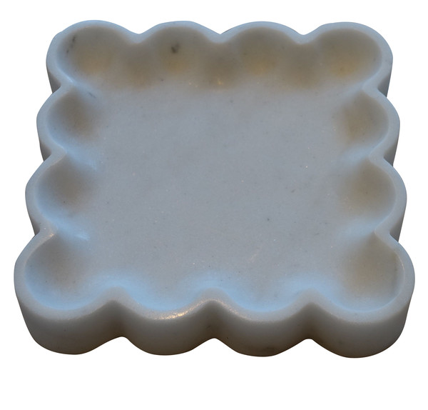 Contemporary Indian Square Scalloped Edge Marble Tray