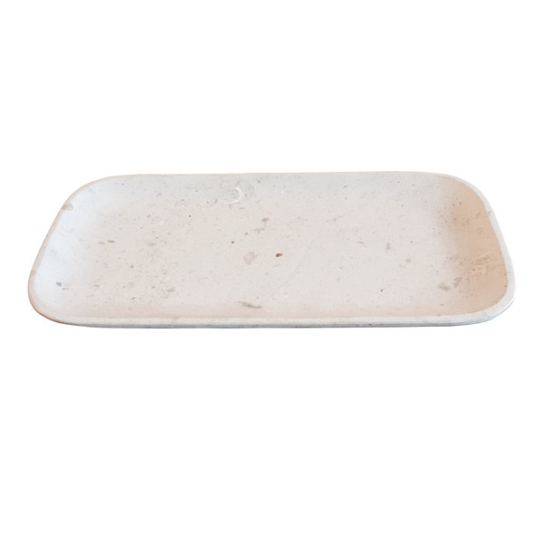 Contemporary Travertine Oval Tray