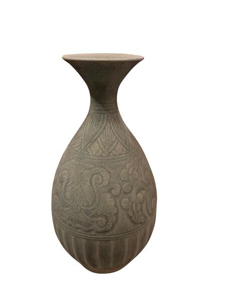 18thc Cambodian Pale Grey Vase