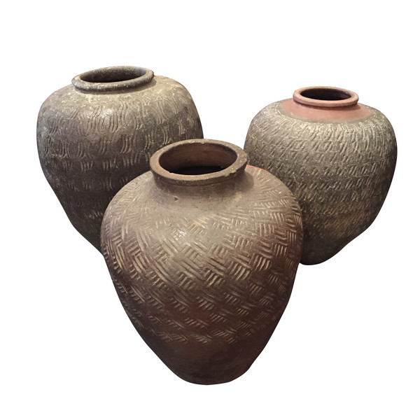 19thc Chinese Collection Large Textured Vases