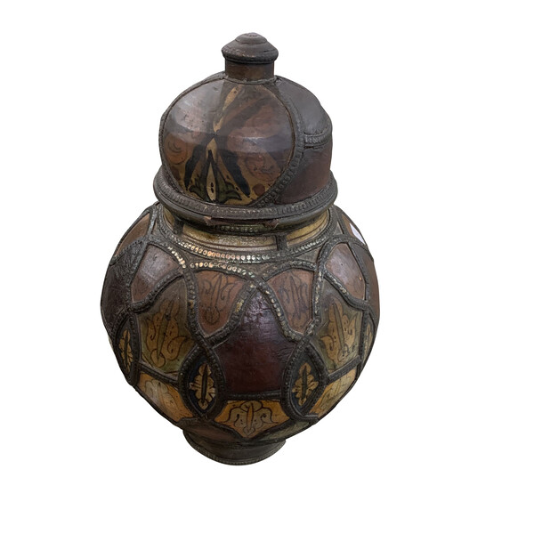 19thc Moroccan Ceramic and Leather Lidded Vase