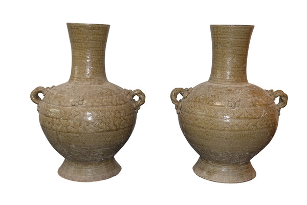 Chinese Pair Classic Shape Textured Vases