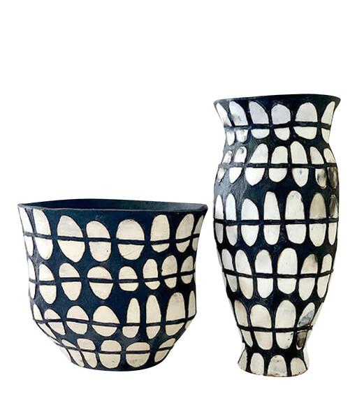 Contemporary American Ceramicist Brenda Holzke Black & White Dot Vase