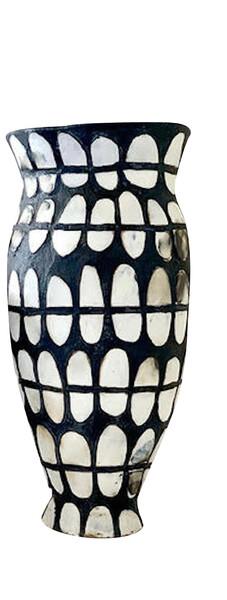 Contemporary American Ceramicist Brenda Holzke Tall Black & White Dot Vase