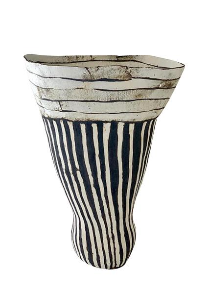 Contemporary American Ceramicist Brenda Holzke Black & White Tall Vase